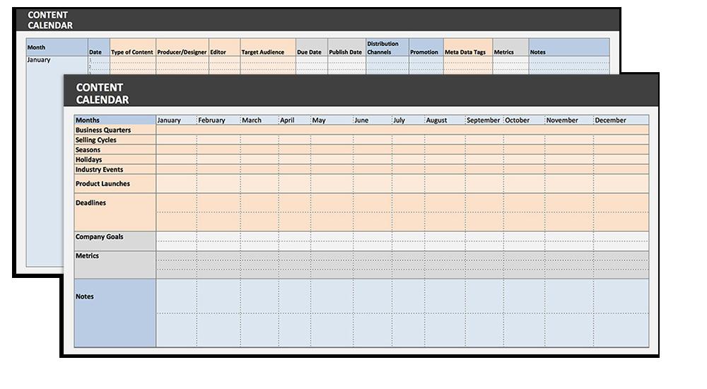 Ce calendrier de contenu offre une vue mensuelle et une vue annuelle