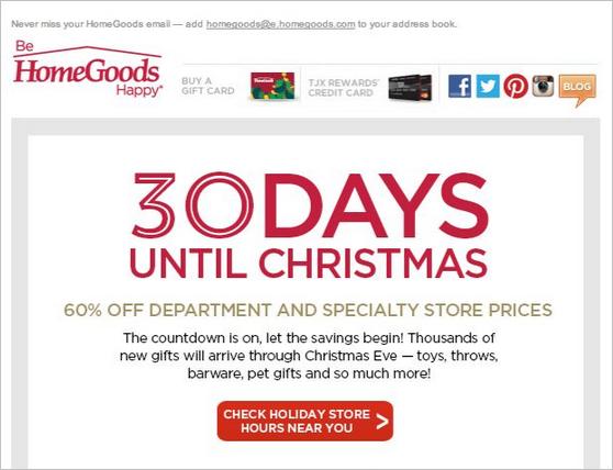 Le compte à rebours utilisé dans la newsletter de HomeGoods a de bonnes chances d'orienter les clients vers leur boutique en ligne immédiatement.