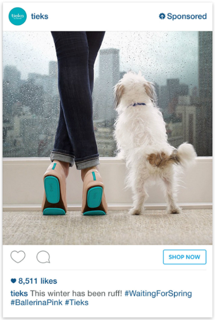 Tieks buy button on Instagram