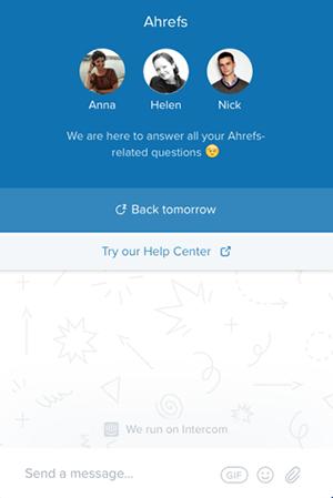 Pour améliorer l'expérience client, Ahrefs a introduit un chatbot sur son site web.