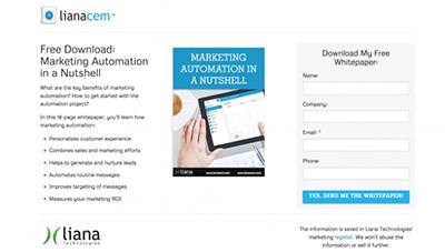 Landing page de livre-blanc pour LianaCEM. Une landing page brève et concise amène une meilleure conversion..