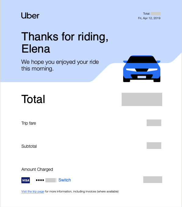 Confirmation mail Uber exemple