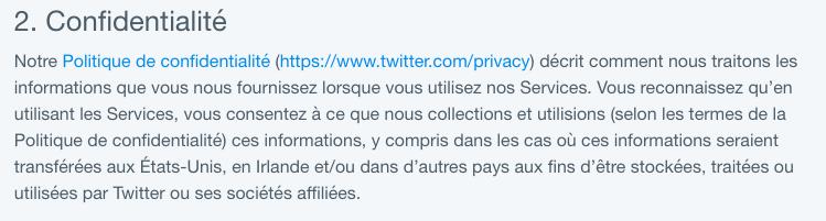 Politique de confidentialité du réseau social Twitter détaillant les motifs légaux de leur utilisation des données personnelles
