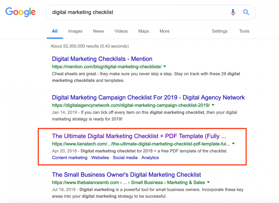 Digital Marketing Checklist Google Search Results