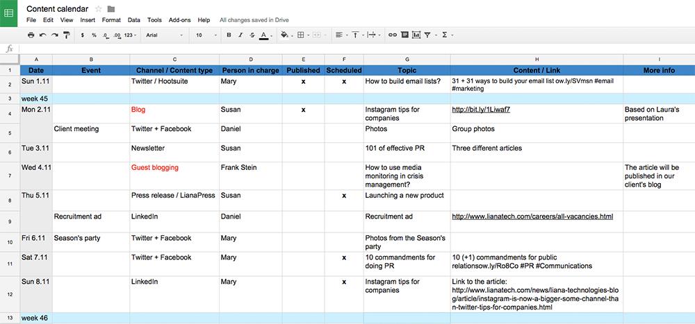 Calendrier Editorial Modele.10 Conseils Pour Creer Votre Content Calendar Liana